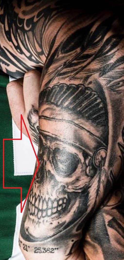 Brian skull with war bonnet tattoo