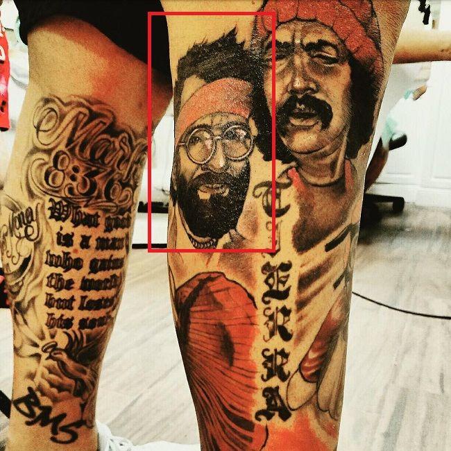 leg tattoo of mike pouncey