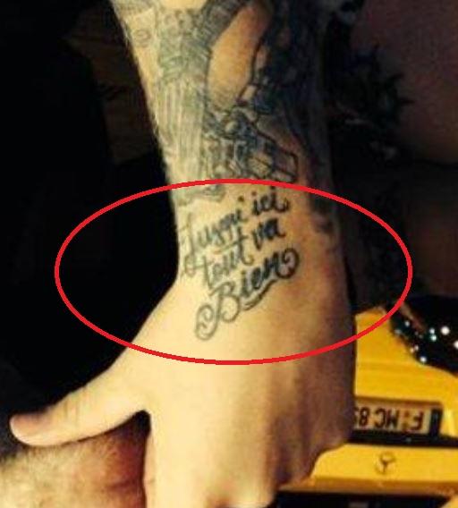 Bonez hand writing tattoo