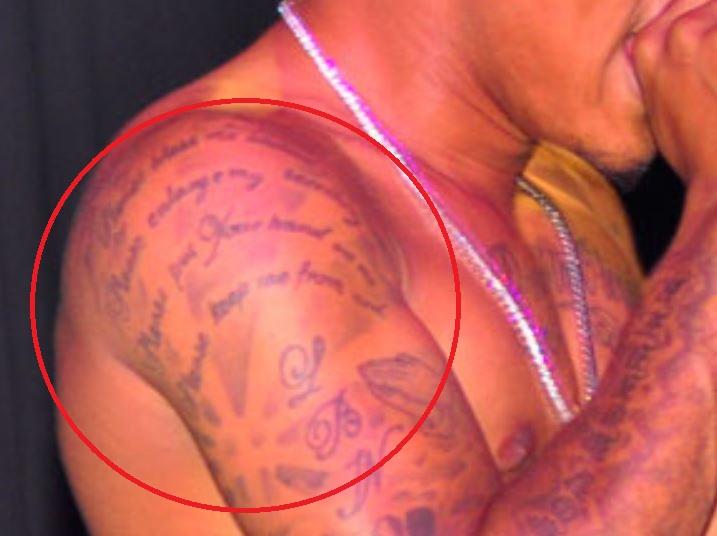 Bow Wow shoulder prayer tattoo