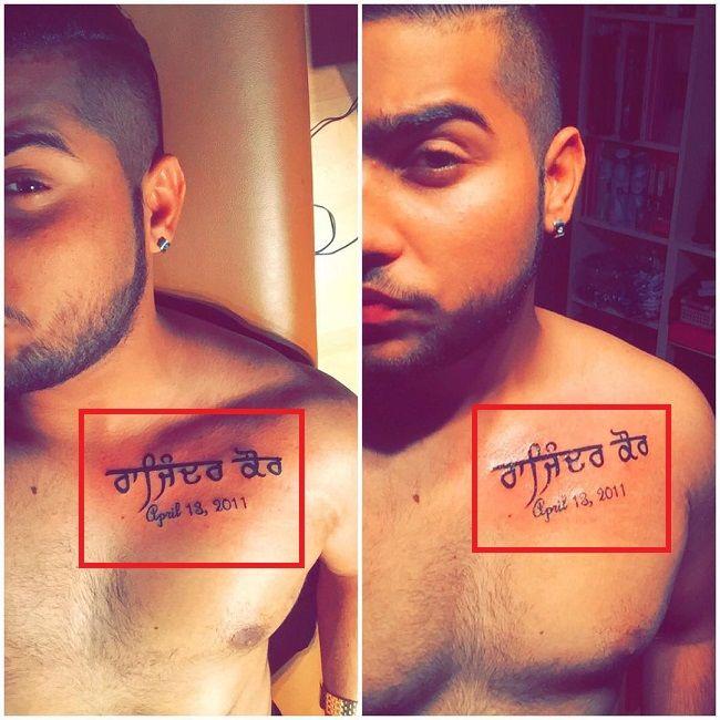 Karan Aujla-Rajinder Kaur-Tattoo