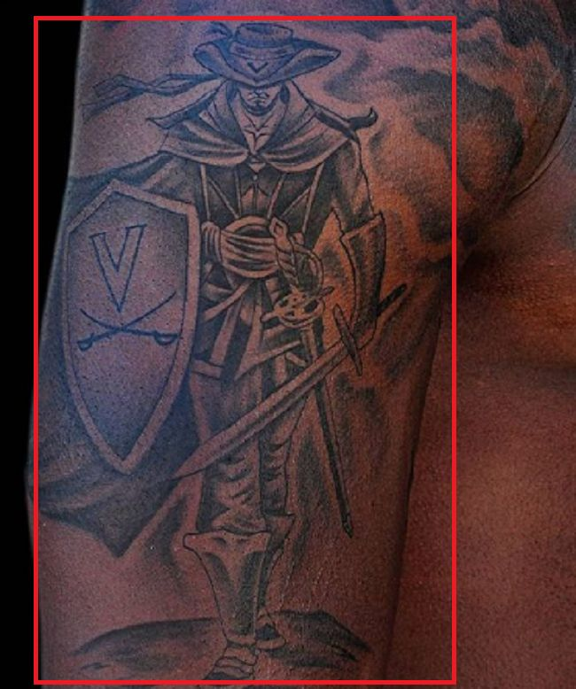 Right arm tattoo of Bryce Perkins