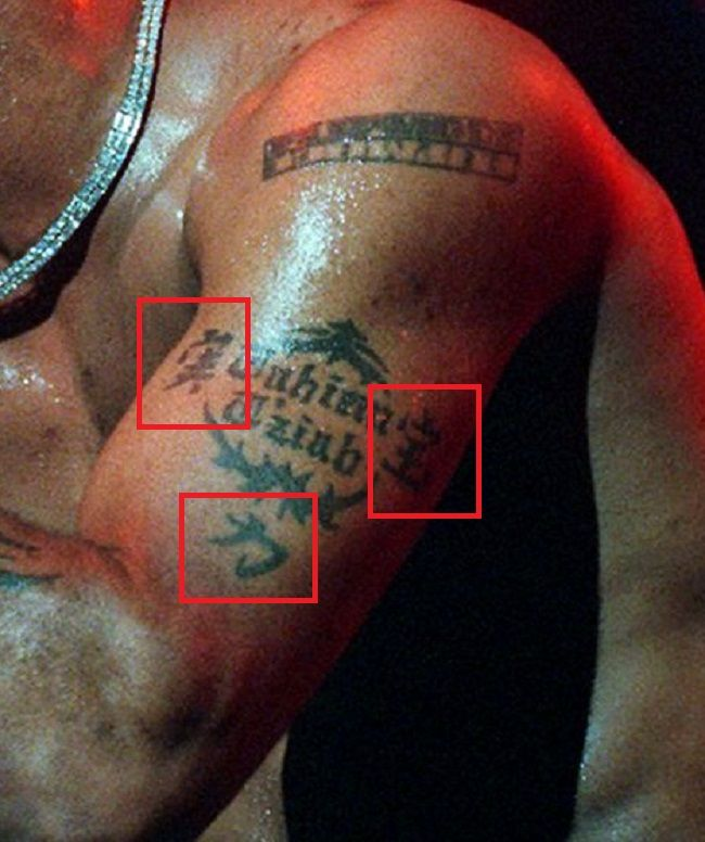 left arm tattoo of Busta