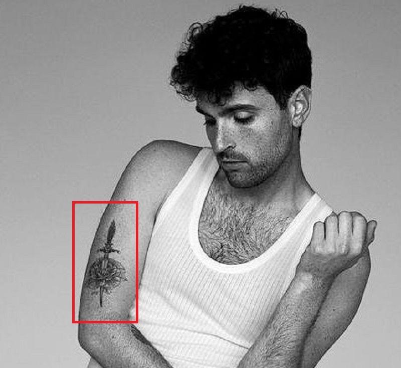 Duncan Laurence-Dagger-Rose-Tattoo