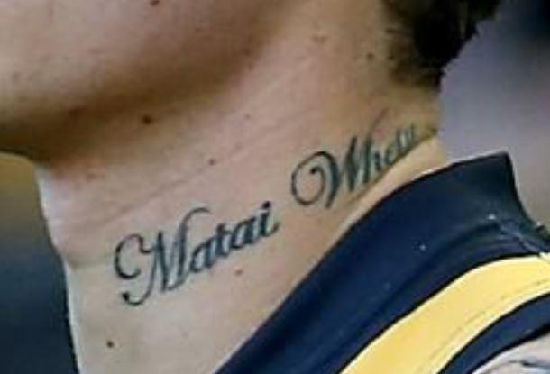 Dustin left neck tattoo