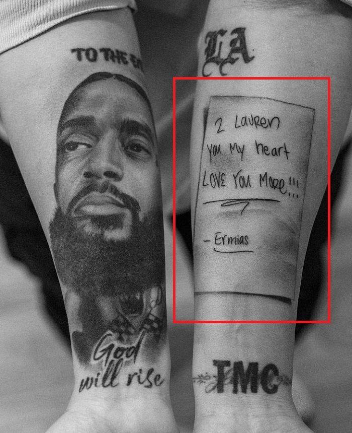 love note tattoo lauren london