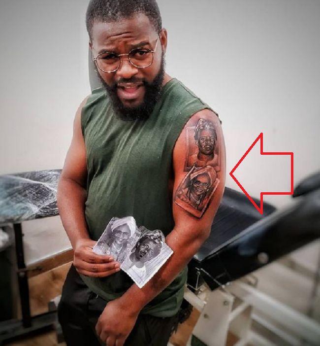 portrait of family-tattoo of Falz