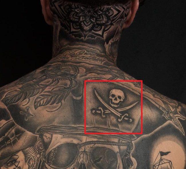 Skull with cross swords tattoo robert sandberg