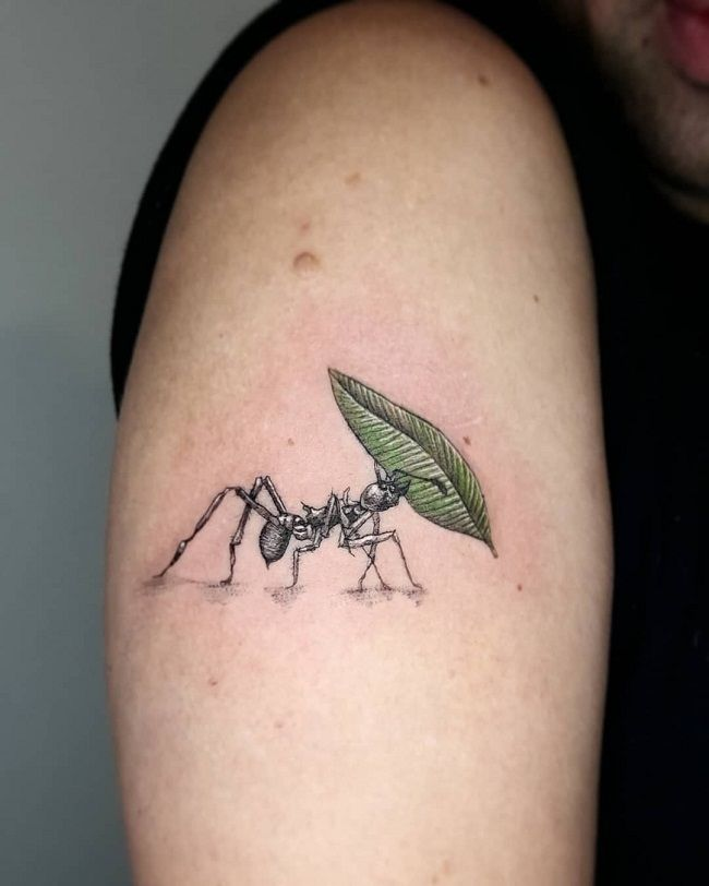 An Ant carrying a Leaf Tattoo