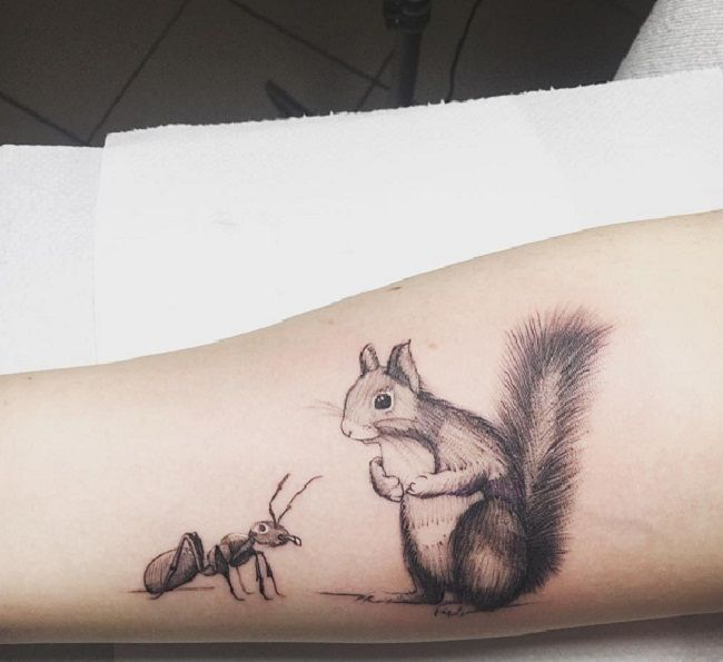 Ant with a Squirrel Tattoo