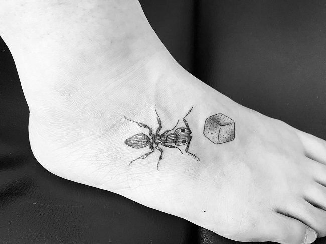 Ant with a Sugar cube Tattoo