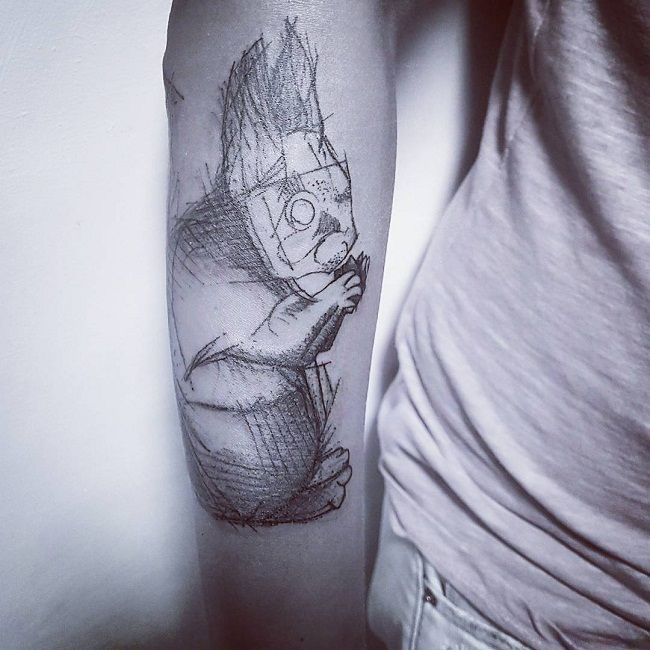 Black and Grey Sketched Tattoo