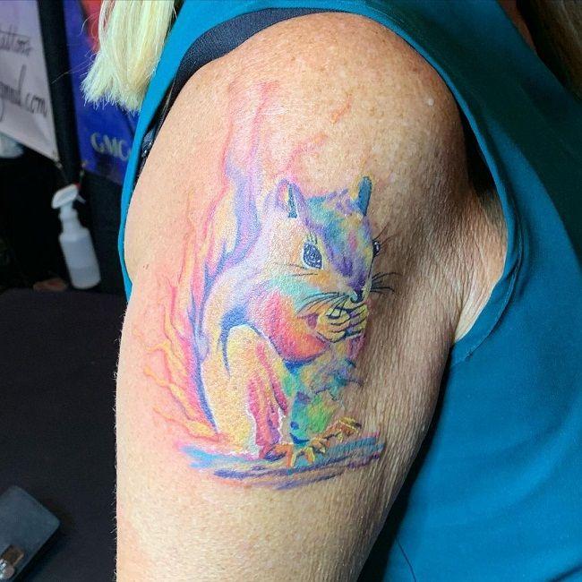 Color Splash Squirrel Tattoo