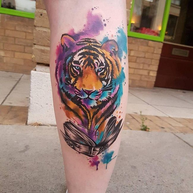 'Color Splash Tiger' Tattoo