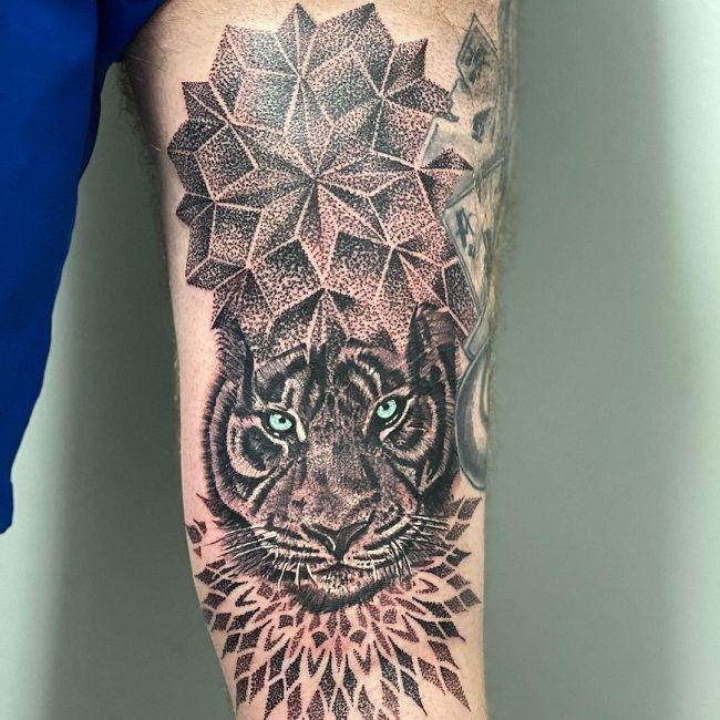 'Dot-Work Tiger' Tattoo