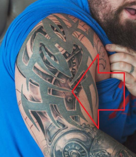Eddie right arm tribal tattoo