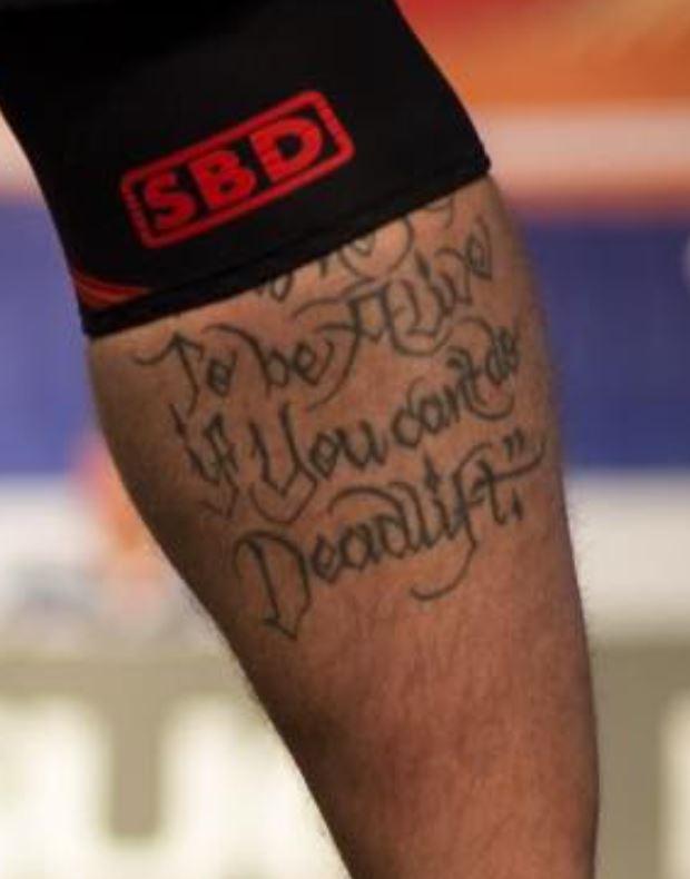 Hafpor leg tattoo