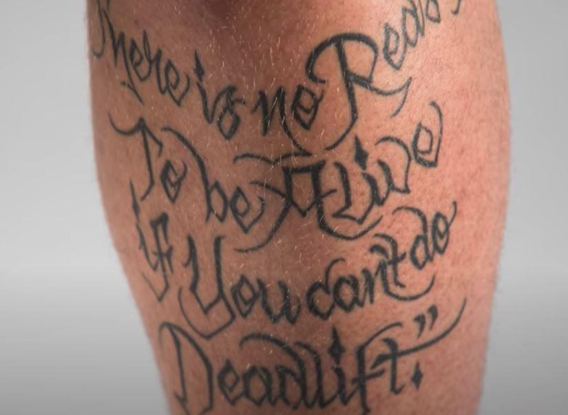 Hafpor quote on leg tatoo