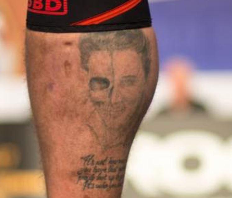 Hafpor right leg tattoo