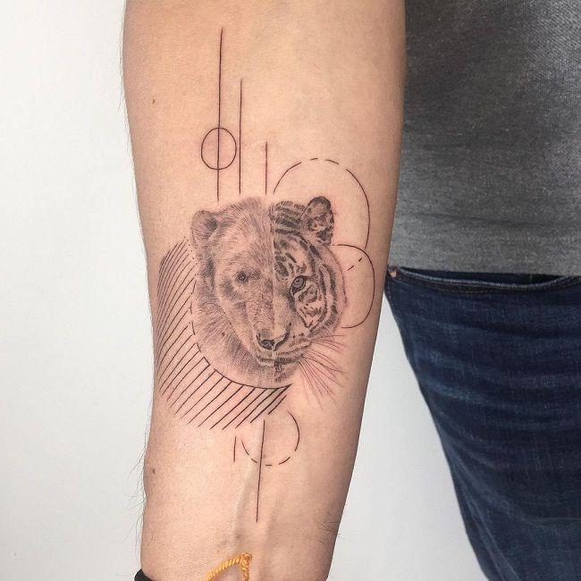 Half Bear and Half Tiger Tattoo