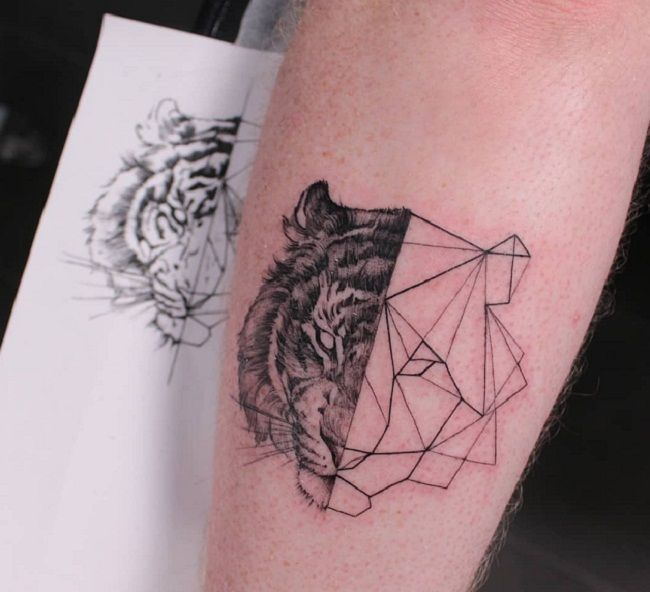 'Half Origami Tiger' Tattoo