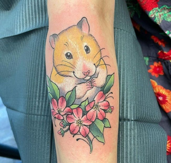 Hamster With Flowers Tattoo
