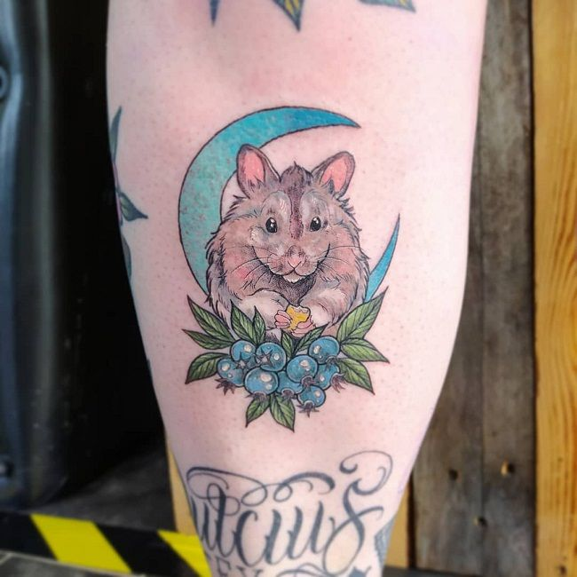 Hamster and the crescent Blue Moon Tattoo