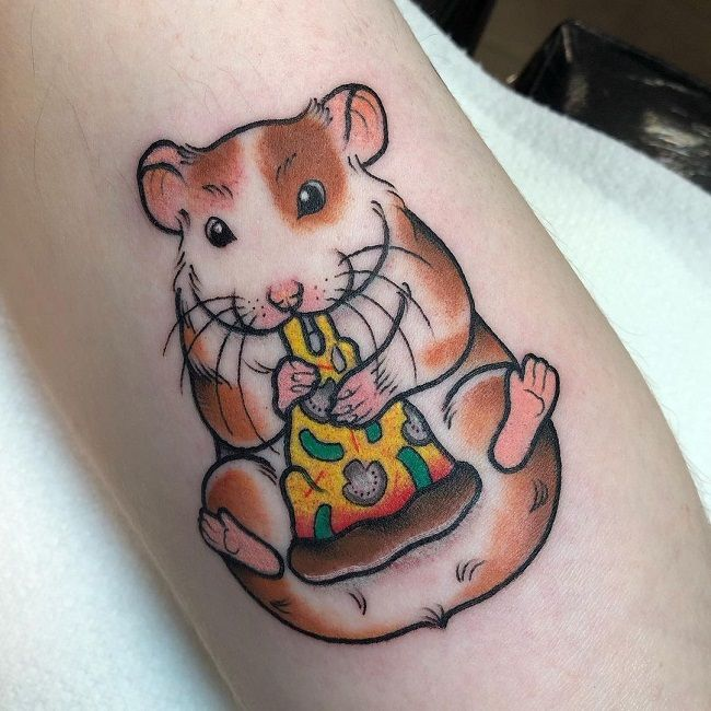 Hamster eating Pizza Tattoo