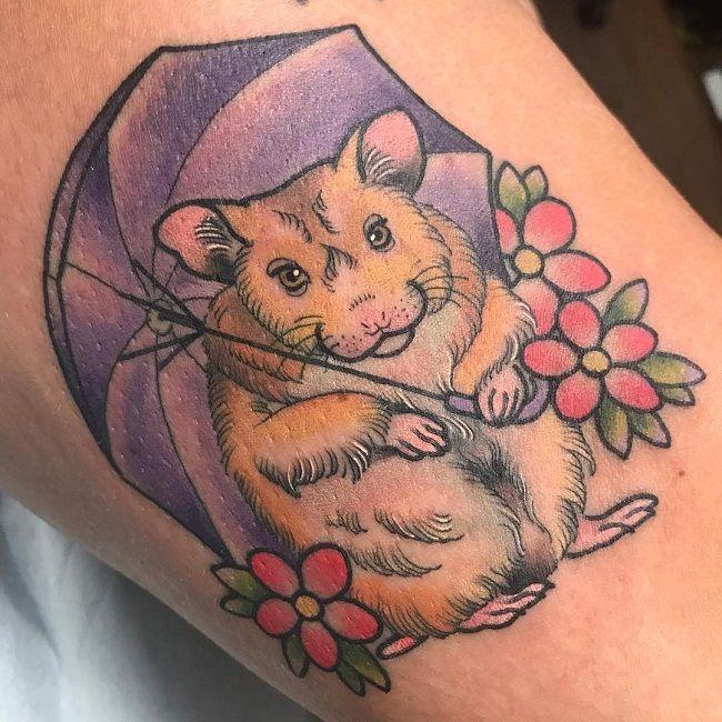 Hamster holding an umbrella Tattoo