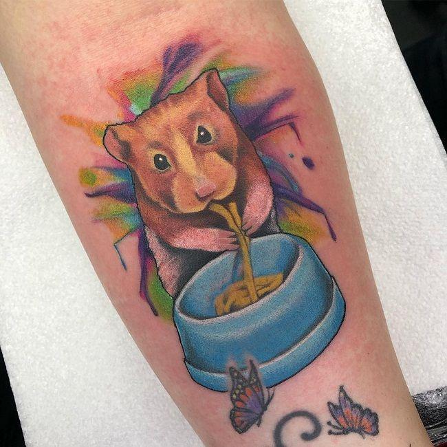 Hamster eating Noodles Tattoo