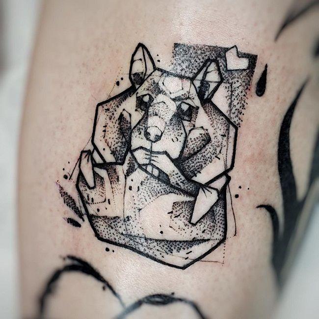 Geometrical Style Hamster Tattoo