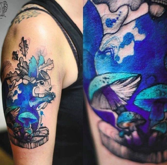 Psychedelic Colored Squirrel Tattoo