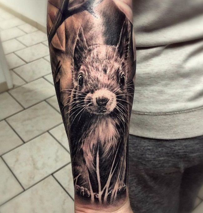 Realistic Squirrel Tattoo
