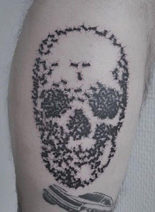 Skeleton Shaped Ant Tattoo