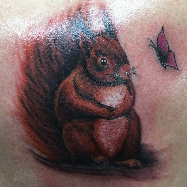 Squirrel With Butterfly Tattoo