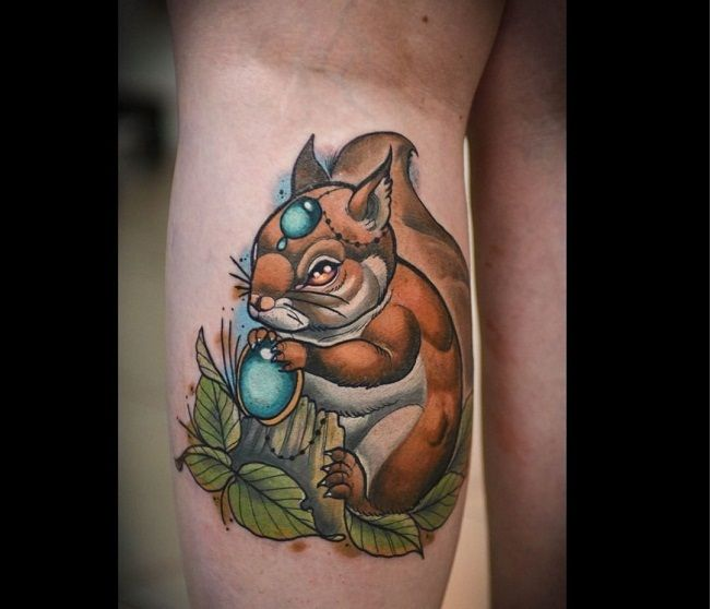 Squirrel With Crystal Tattoo