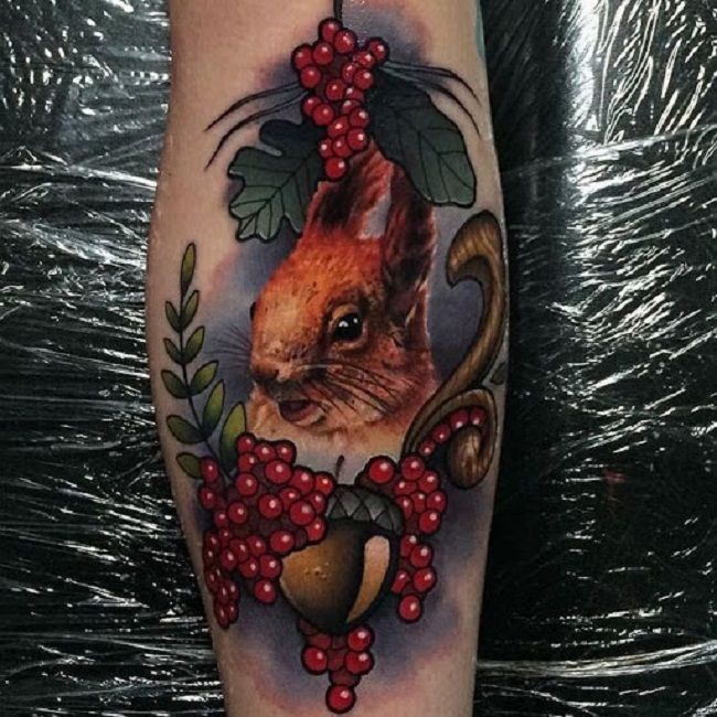 Squirrel with Berries Tattoo