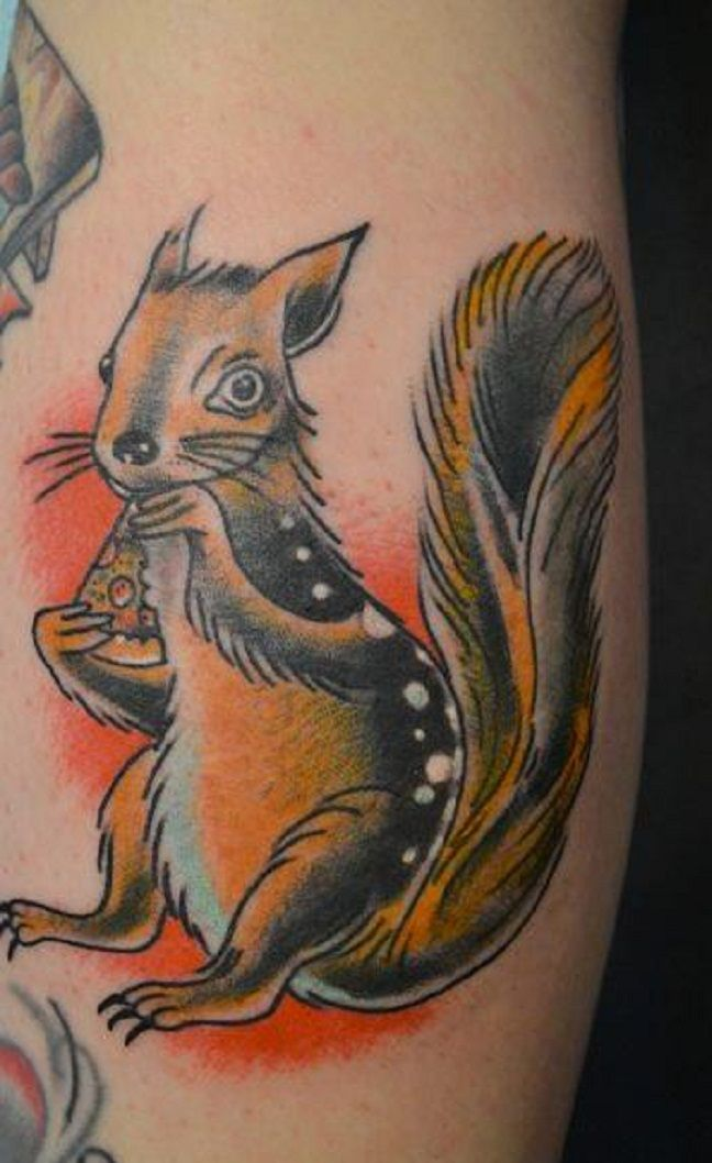 Squirrel eating pizza Tattoo