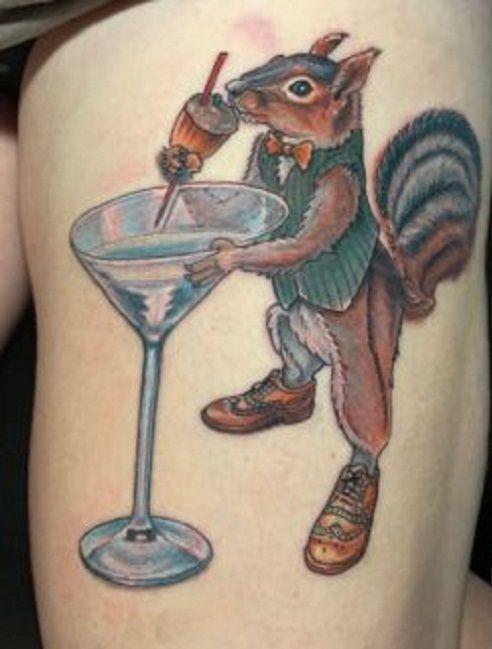 'Squirrel enjoying a drink' Tattoo