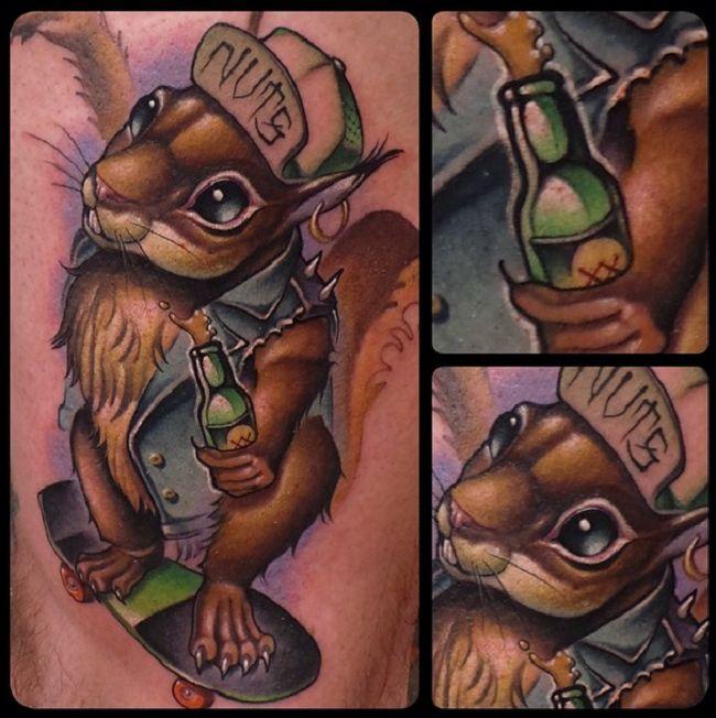Squirrel on Skateboard Tattoo