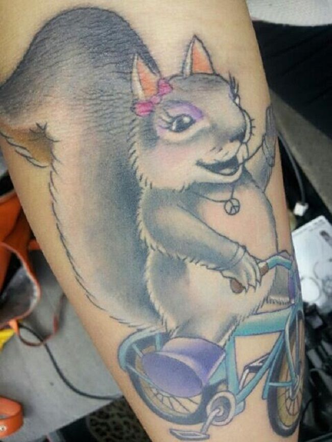 Squirrel riding cycle Tattoo