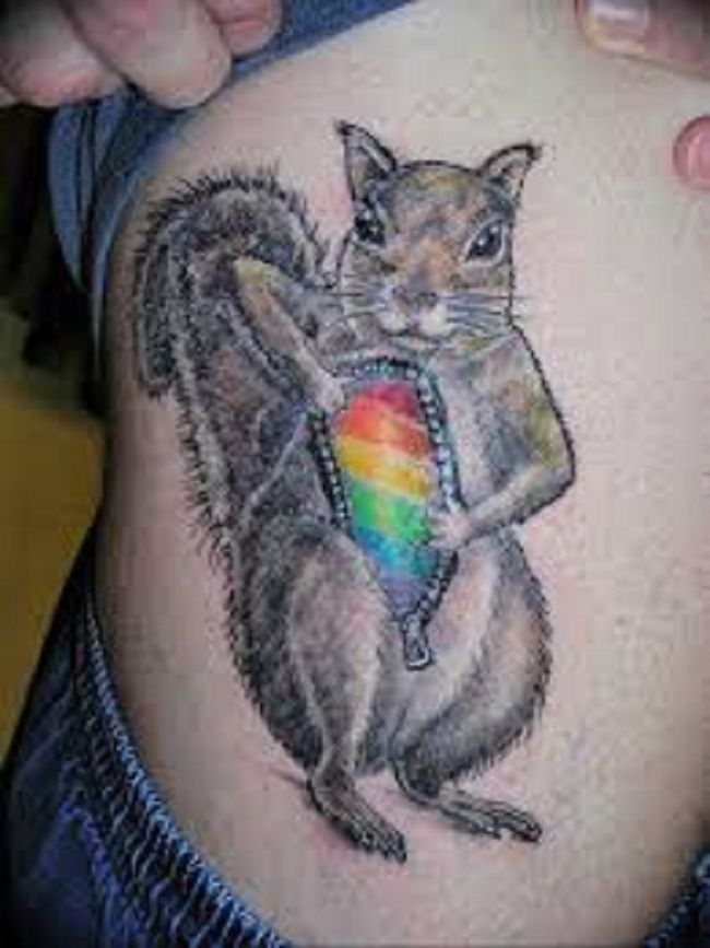 Squirrel with a glass bottle Tattoo
