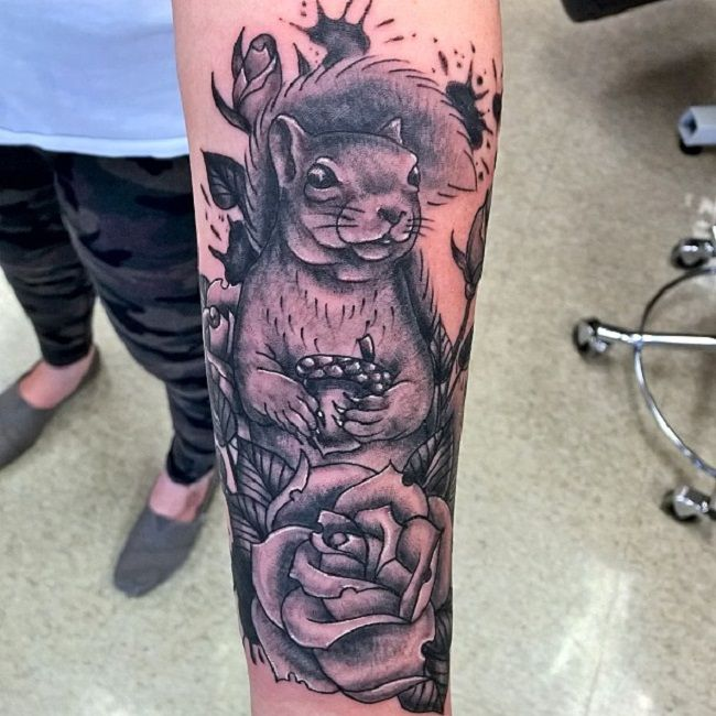 Squirrel with a Rose Tattoo