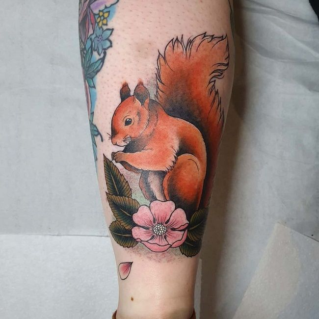 Squirrel with Flower Tattoo
