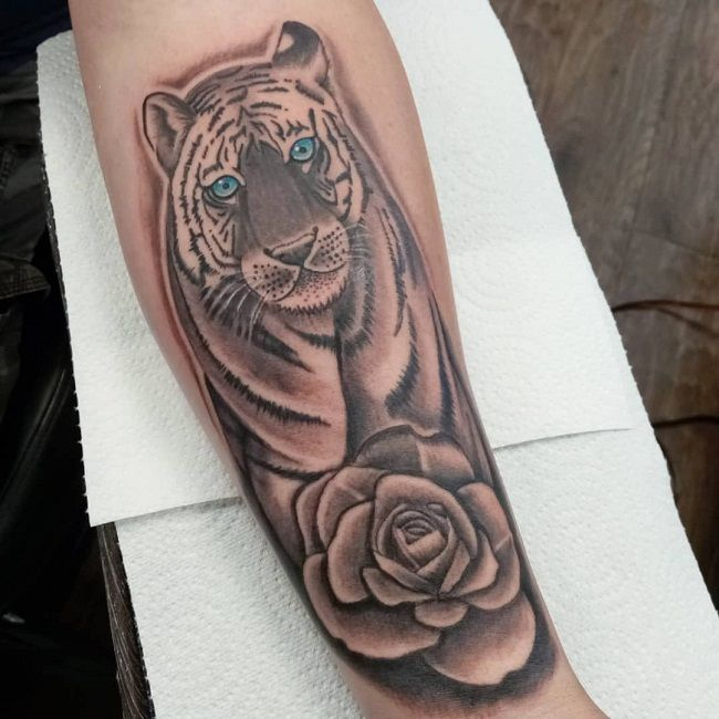 'Tiger with a Rose' Tattoo