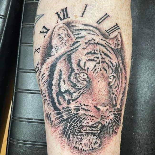 'Tiger with the Clock' Tattoo