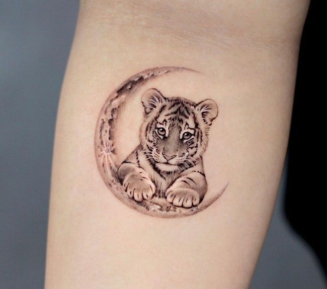 'Tiger with the Crescent Moon' Tattoo