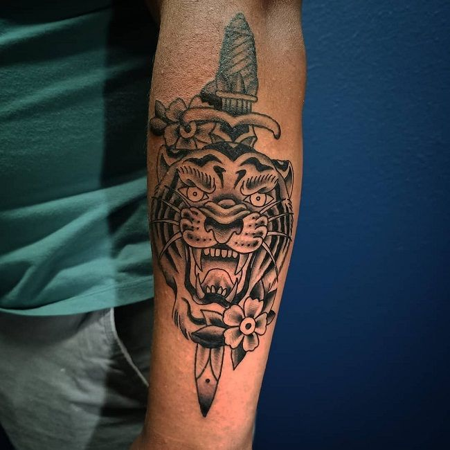 'Traditional Styled Tiger' Tattoo