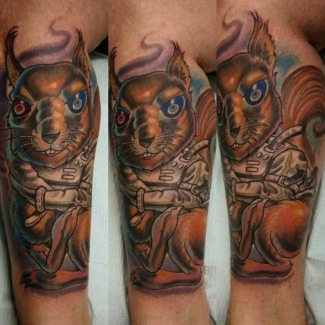 Warrior Squirrel Tattoo