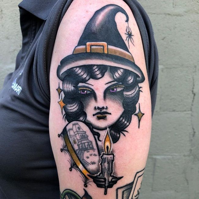 'A witch with a Spider' Tattoo